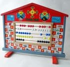 Vintage Toy Boxed Wooden Chinese Wisdom Board  1960s Abacus Clock Learning Alphabet Days Week